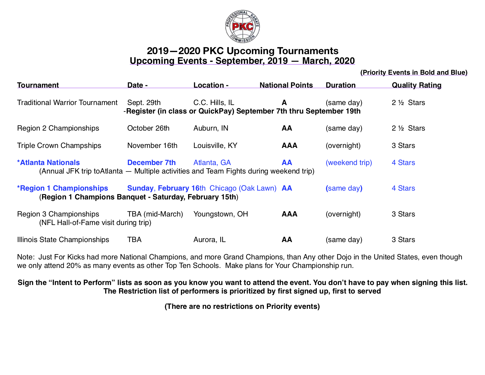 2019 - 2020 Tournament Activities